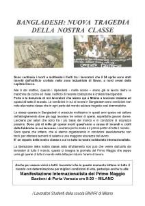 Tragedia in Bangladesh e 1° Maggio