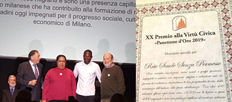 Premio Panettone d'oro 2019 alla Rete Scuole Senza Permesso